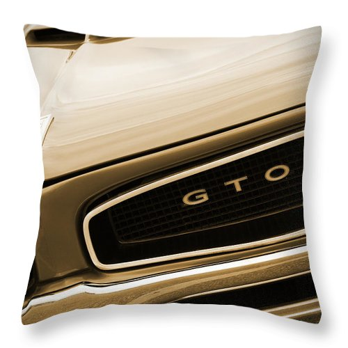 1966 Throw Pillow featuring the photograph 1966 Pontiac Gto In Sepia by Gordon Dean II