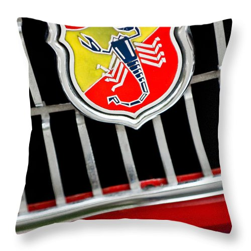 1967 Fiat Abarth 1000 Otr Throw Pillow featuring the photograph 1967 Fiat Abarth 1000 Otr Emblem by Jill Reger