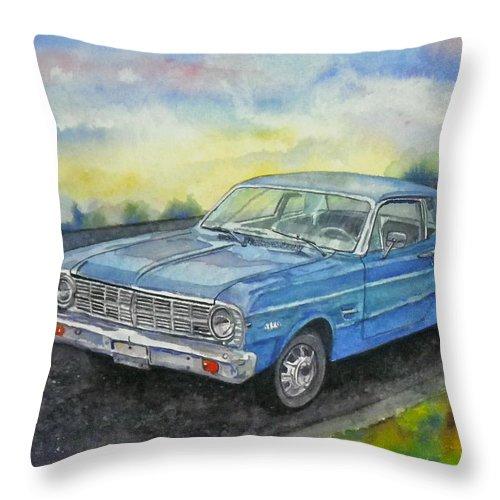 Car Throw Pillow featuring the painting 1967 Ford Falcon Futura by Anna Ruzsan