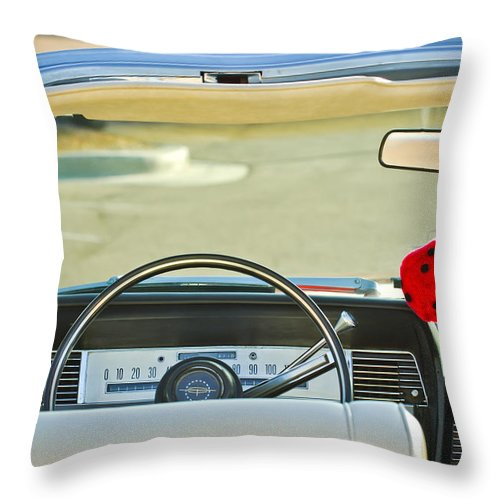 1967 Lincoln Continental Steering Wheel 014c Throw Pillow For Sale By Jill Reger