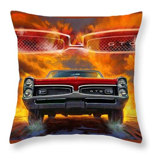 Sunset Throw Pillow featuring the digital art 1967 Pontiac Tempest Lemans Gto 1967 by Garth Glazier