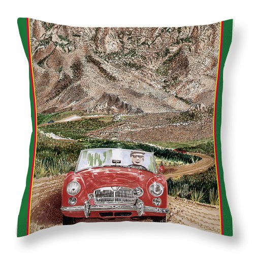 Organ Mountains-desert Peaks National Monument Throw Pillow featuring the painting Mountain Rallying In A 1968 M G B by Jack Pumphrey