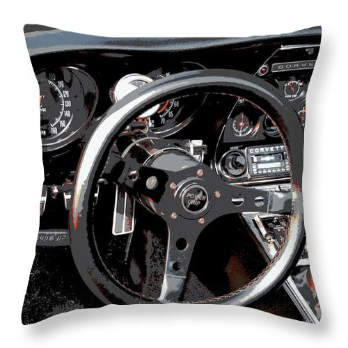 Red Car Throw Pillow featuring the photograph 1969 Chevrolet Corvette Stingray - Ix by Aurelio Zucco