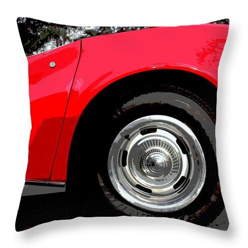Red Car Throw Pillow featuring the photograph 1969 Chevrolet Corvette Stingray - Vi by Aurelio Zucco