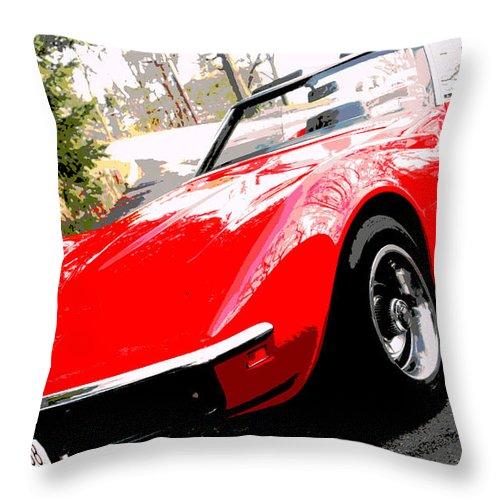 Red Car Throw Pillow featuring the photograph 1969 Chevrolet Corvette Stingray - X by Aurelio Zucco