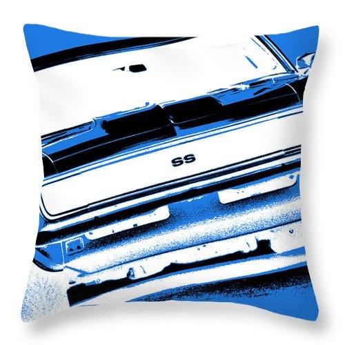 1968 Throw Pillow featuring the photograph 1969 Chevy Camaro Ss - Blue Negative by Gordon Dean II