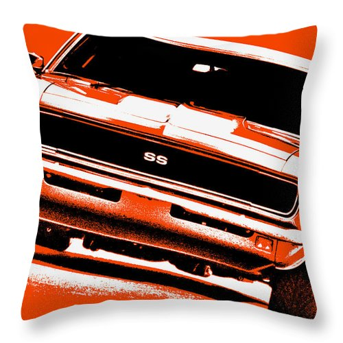 1968 Throw Pillow featuring the photograph 1969 Chevy Camaro Ss - Orange by Gordon Dean II
