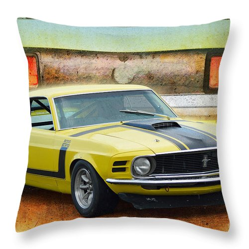 1970 Throw Pillow featuring the photograph 1970 Boss 302 Mustang by Stuart Row
