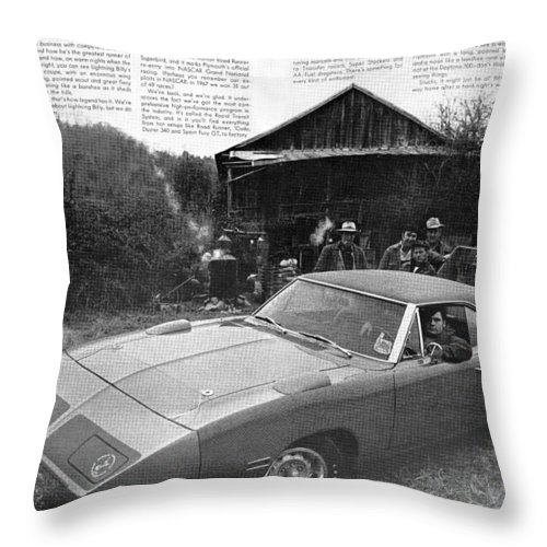 1970 Throw Pillow featuring the digital art 1970 Plymouth Superbird - Announcing A New Kind Of Runner by Digital Repro Depot