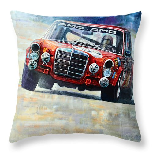 Acrilic On Canvas Throw Pillow featuring the painting 1971 Mercedes-benz Amg 300sel by Yuriy Shevchuk
