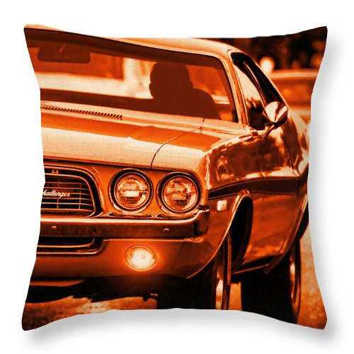 Throw Pillow featuring the photograph 1972 Dodge Challenger In Orange by Gordon Dean II