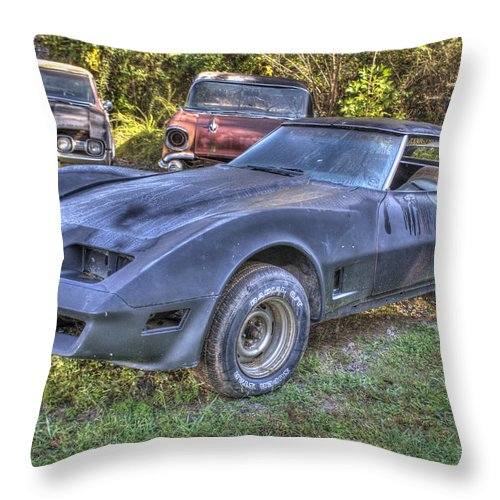 1977 Throw Pillow featuring the photograph 1977 Corvette Black by Douglas Barnett
