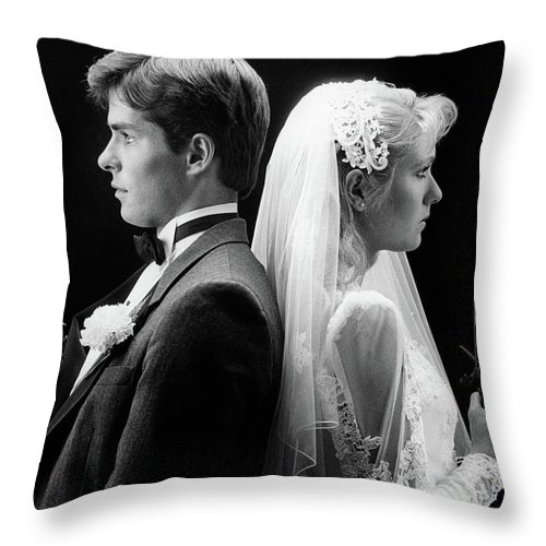 Photography Throw Pillow featuring the photograph 1980s Bride And Groom Standing Back by Vintage Images