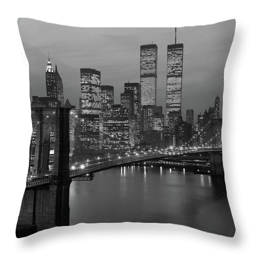 Photography Throw Pillow featuring the photograph 1980s New York City Lower Manhattan by Vintage Images