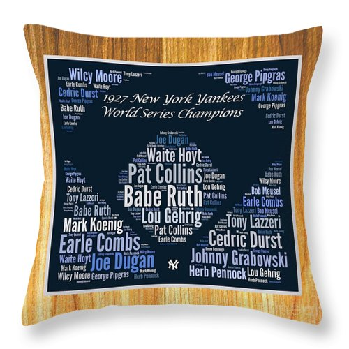 1927 New York Yankees Throw Pillow featuring the digital art 1927 World Series Champion Yankees by Spencer McKain