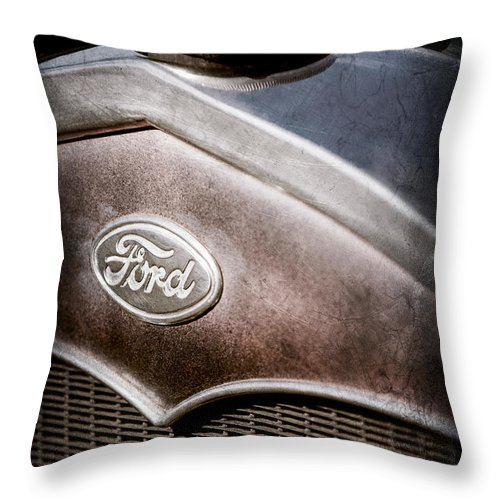 1931 Ford Grille Emblem Throw Pillow featuring the photograph 1931 Ford Grille Emblem by Jill Reger