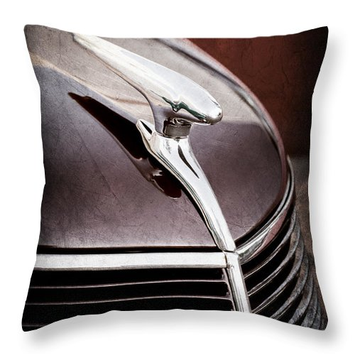 1937 Ford Hood Ornament Throw Pillow featuring the photograph 1937 Ford Hood Ornament by Jill Reger