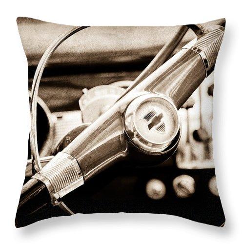 1951 Chevrolet Convertible Steering Wheel Throw Pillow featuring the photograph 1951 Chevrolet Convertible Steering Wheel by Jill Reger