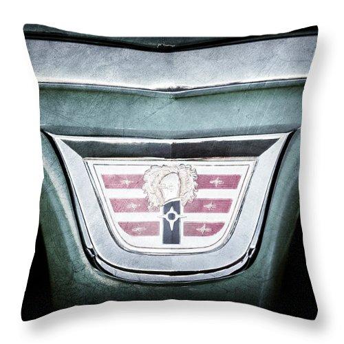 1956 Dodge Emblem Throw Pillow featuring the photograph 1956 Dodge Emblem by Jill Reger