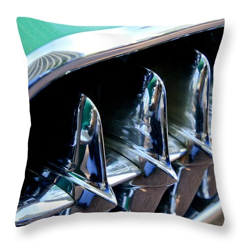 1957 Chevrolet Corvette Throw Pillow featuring the photograph 1957 Chevrolet Corvette Grille by Jill Reger