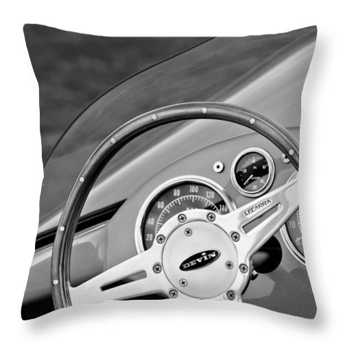 1959 Devin Ss Steering Wheel Throw Pillow featuring the photograph 1959 Devin Ss Steering Wheel by Jill Reger