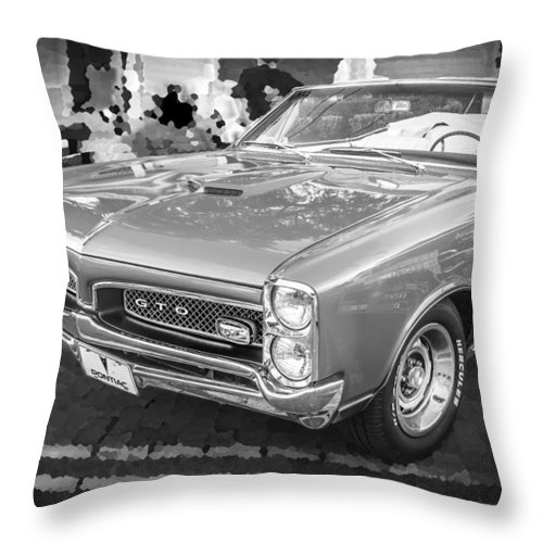 1967 Pontiac Gto Throw Pillow featuring the photograph 1967 Pontiac Gto Bw by Rich Franco