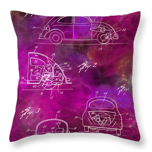 Vw Throw Pillow featuring the photograph 1968 Vw Patent Drawing by Jon Neidert
