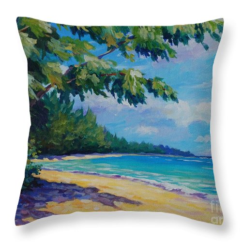 7mb Throw Pillow featuring the painting 7 Mile Beach by John Clark