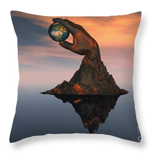 Horizontal Throw Pillow featuring the digital art A 3d Conceptual Image Of The World by Mark Stevenson