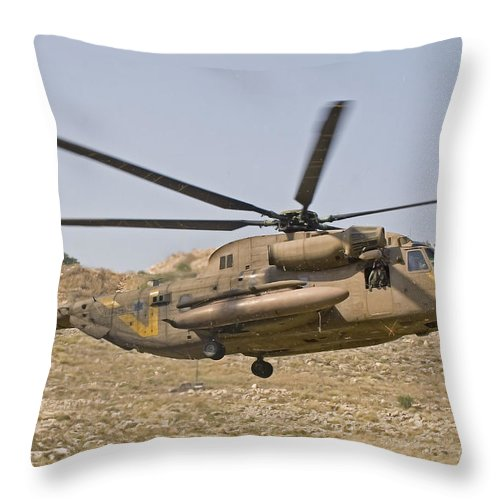 Transportation Throw Pillow featuring the photograph A Ch-53 Yasur 2000 Of The Israeli Air by Ofer Zidon