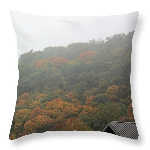 Autumn Foliage Throw Pillow featuring the photograph A Foggy Autumn Day At The United States Military Academy At West by James Connor