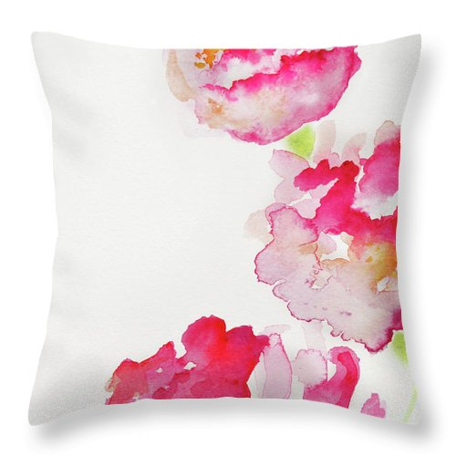 Art Throw Pillow featuring the photograph Abstract Watercolour Flowers by Kathy Collins