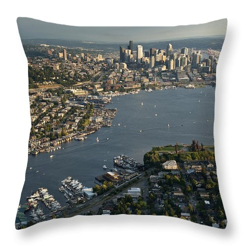 Elliott Bay Throw Pillow featuring the photograph Aerial View Of Seattle by Jim Corwin
