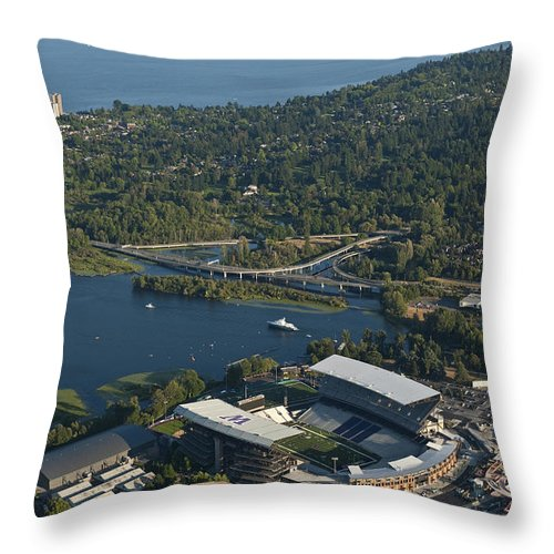 Husky Stadium Throw Pillow featuring the photograph Aerial View Of The New Husky Stadium by Jim Corwin