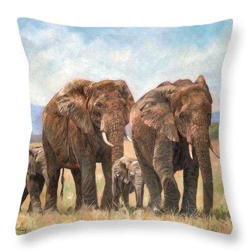 Elephant Throw Pillow featuring the painting African Elephants by David Stribbling