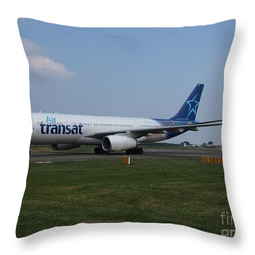 737 Throw Pillow featuring the photograph Air Transat Airbus A330 by Paul Fearn
