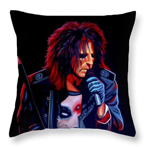Alice Cooper Throw Pillow featuring the painting Alice Cooper by Paul Meijering