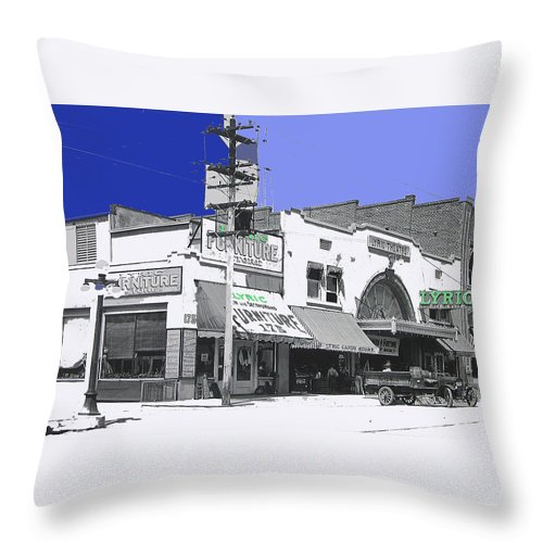 Allan Dwan Soldiers Of Fortune 1919 Lyric Theater Tucson Arizona 1919-2008 Throw Pillow featuring the photograph Allan Dwan Soldiers Of Fortune 1919 Lyric Theater Tucson Arizona 1919-2008 by David Lee Guss