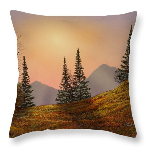 Alpine Sunset Throw Pillow featuring the painting Alpine Sunset by Frank Wilson