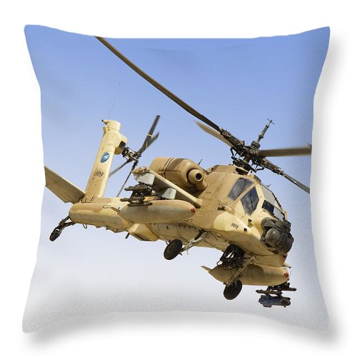 Transportation Throw Pillow featuring the photograph An Ah-64a Peten Attack Helicopter by Ofer Zidon
