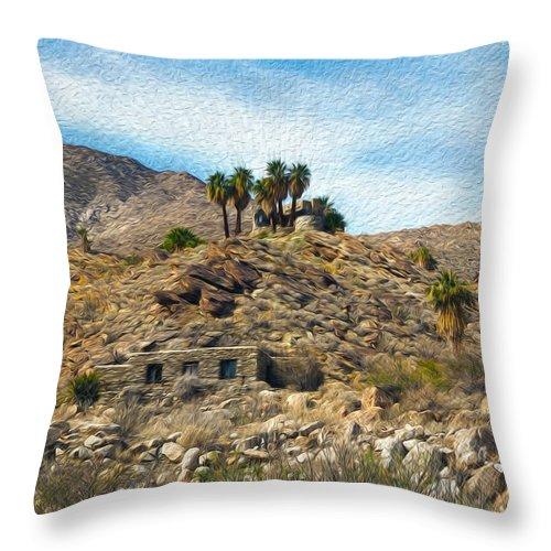 California Desert Throw Pillow featuring the photograph Andreas Canyon Dreams by Joe Schofield