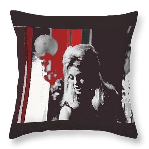 Angie Dickinson On Stage Number 2 Young Billy Young Set Old Tucson Arizona 1968 Throw Pillow featuring the photograph Angie Dickinson On Stage Number 2 Young Billy Young Set Old Tucson Arizona 1968-2013 by David Lee Guss