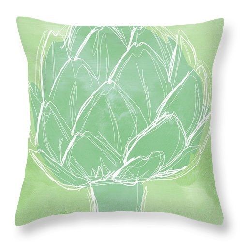 Artichoke Throw Pillow featuring the painting Artichoke by Linda Woods