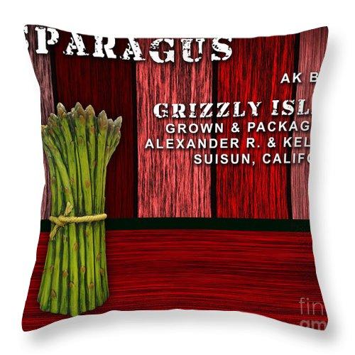 Asparagus Art Mixed Media Throw Pillow featuring the mixed media Asparagus Farm by Marvin Blaine