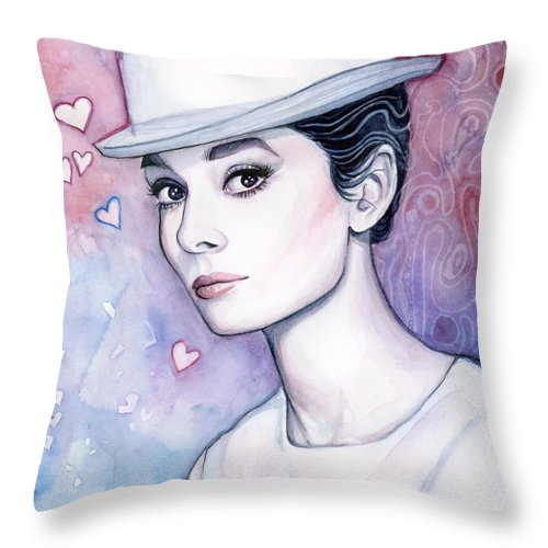 Audrey Throw Pillow featuring the painting Audrey Hepburn Fashion Watercolor by Olga Shvartsur