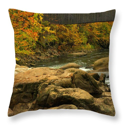 Autumn Throw Pillow featuring the photograph Autumn At Bulls Bridge by Karol Livote