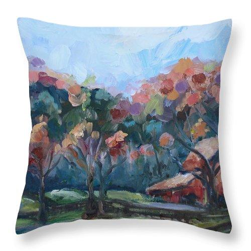 Autumn Barn Throw Pillow featuring the painting Autumn Barn by Donna Tuten