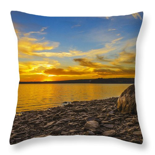 Sunset Throw Pillow featuring the photograph Autumn Sunset by Zbigniew Krol