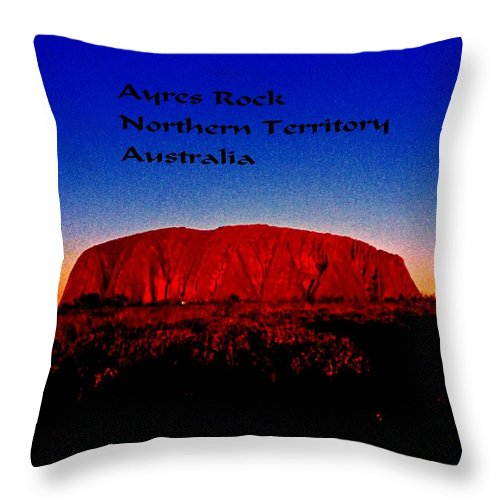 Australia Throw Pillow featuring the photograph Ayres Rock by Gary Wonning