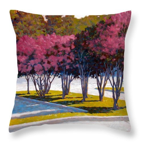 Crepe Myrtles Throw Pillow featuring the painting Balanced Account by Kevin Lawrence Leveque